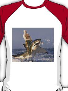 Putin riding a shark (With Background) T-Shirt