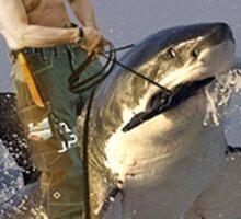 Putin riding a shark (With Background) Sticker