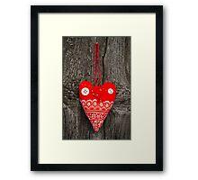 Handmade fabric heart Framed Print