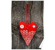 Handmade fabric heart Poster