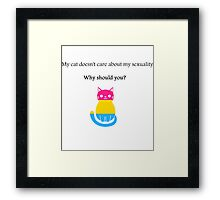 'My cat doesn't care about my sexuality' Pansexual Framed Print