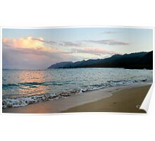 Sunset by the ocean Poster