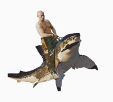 Putin riding a shark by Frogpen