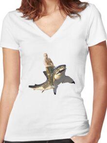 Putin riding a shark Women's Fitted V-Neck T-Shirt
