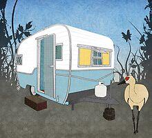 Travel Trailer & Sandhill Crane  by Janet Carlson