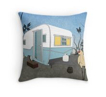 Travel Trailer & Sandhill Crane  Throw Pillow