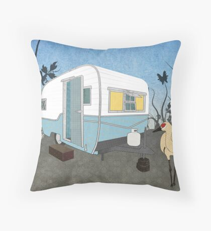 Travel Trailer & Sandhill Crane  Throw Pillow