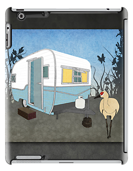 Travel Trailer & Sandhill Crane  by Janet Carlson