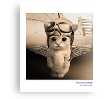 "CATS IN HATS ""AMEWLIA EARHART"" Canvas Print"