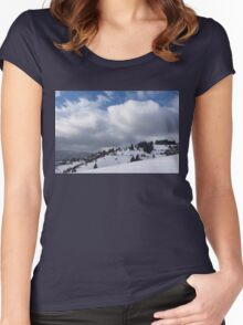 Sunny Snowstorm - a Mountain View to Remember Women's Fitted Scoop T-Shirt