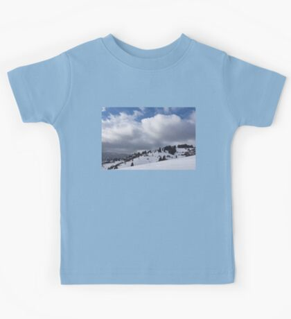 Sunny Snowstorm - a Mountain View to Remember Kids Tee