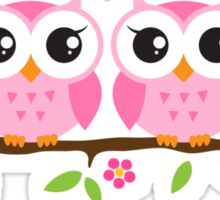 Pink twin baby owls sitting on floral branch, sticker Sticker
