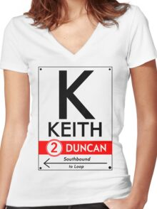 Retro CTA sign Keith Women's Fitted V-Neck T-Shirt