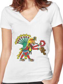 Chicome Xochitl Xochipilli Women's Fitted V-Neck T-Shirt