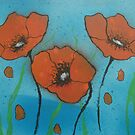 Red Poppies with water by George Hunter