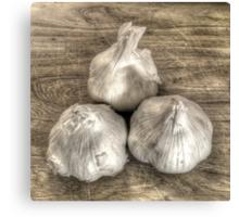 Three Bulbs of Garlic Canvas Print