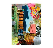 Footprint and Blue Chair Photographic Print