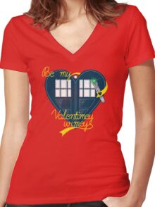 Be my Valentimey-wimey? Women's Fitted V-Neck T-Shirt