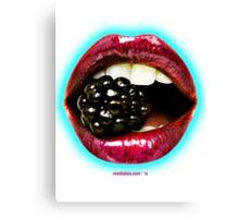 Big Red Lips Biting a Blackberry 2 Canvas Print