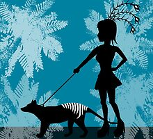 Burlesque girl & Tasmanian Tiger by animatorgurl