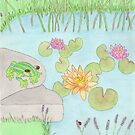 A Lazy Day By The Pond (with title on print) by Briony Ryan