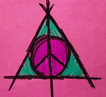 Pink and Green Deathly Hallows Peace Drawing by Amber Batten