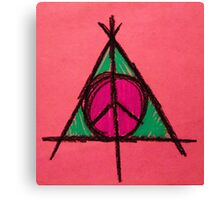 Peach and Green Deathly Hallows and Peace Drawing Canvas Print
