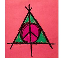Peach and Green Deathly Hallows and Peace Drawing Photographic Print