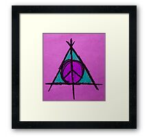 Purple and Green Deathly Hallows and Peace Drawing Framed Print
