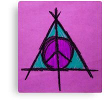 Purple and Green Deathly Hallows and Peace Drawing Canvas Print