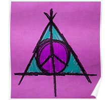 Purple and Green Deathly Hallows and Peace Drawing Poster