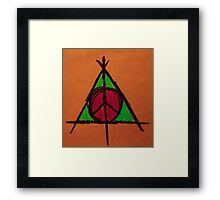 Orange and Green Deathly Hallows and Peace Drawing Framed Print