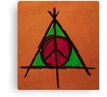 Orange and Green Deathly Hallows and Peace Drawing Canvas Print