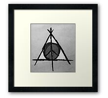 Black and White Deathly Hallows and Peace Drawing Framed Print