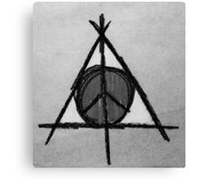 Black and White Deathly Hallows and Peace Drawing Canvas Print