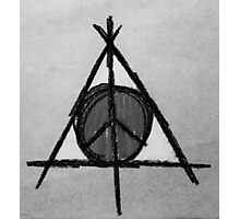 Black and White Deathly Hallows and Peace Drawing Photographic Print