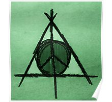 Green Tint Deathly Hallows and Peace Drawing Poster