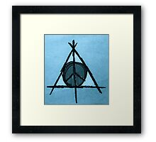 Baby Blue Tint Deathly Hallows and Peace Drawing Framed Print