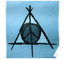 Baby Blue Tint Deathly Hallows and Peace Drawing Poster