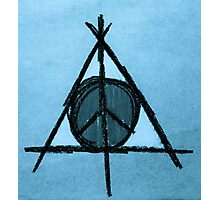 Baby Blue Tint Deathly Hallows and Peace Drawing Photographic Print