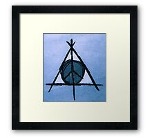 Sky Blue Deathly Hallows and Peace Drawing Framed Print