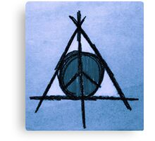 Sky Blue Deathly Hallows and Peace Drawing Canvas Print