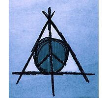 Sky Blue Deathly Hallows and Peace Drawing Photographic Print