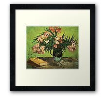 Still life - Vase with Oleanders and a Book, Van Gogh Framed Print