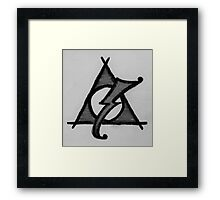 Black and White Deathly Hallows and Scar Framed Print