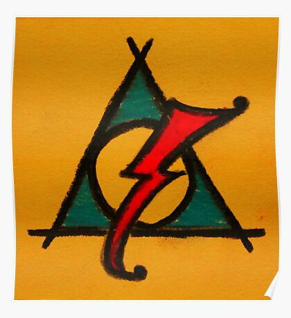 Orange, Blue and Red Deathly Hallows Scar Poster