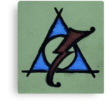 Green, Blue and Red Deathly Hallows Scar Canvas Print