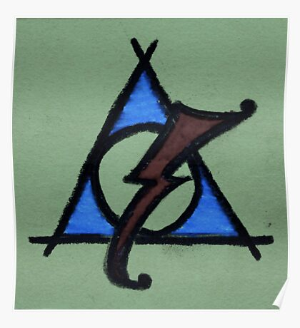 Green, Blue and Red Deathly Hallows Scar Poster