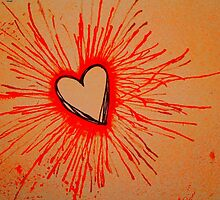 Exploding  Heart Red by Amber Batten