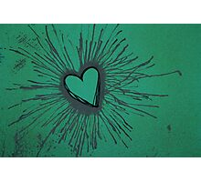 Exploding Heart Green and Gray Photographic Print